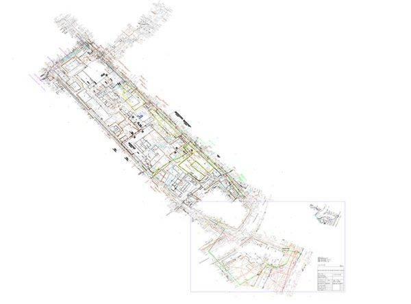 Исполнительный план-чертеж прокладки канализации